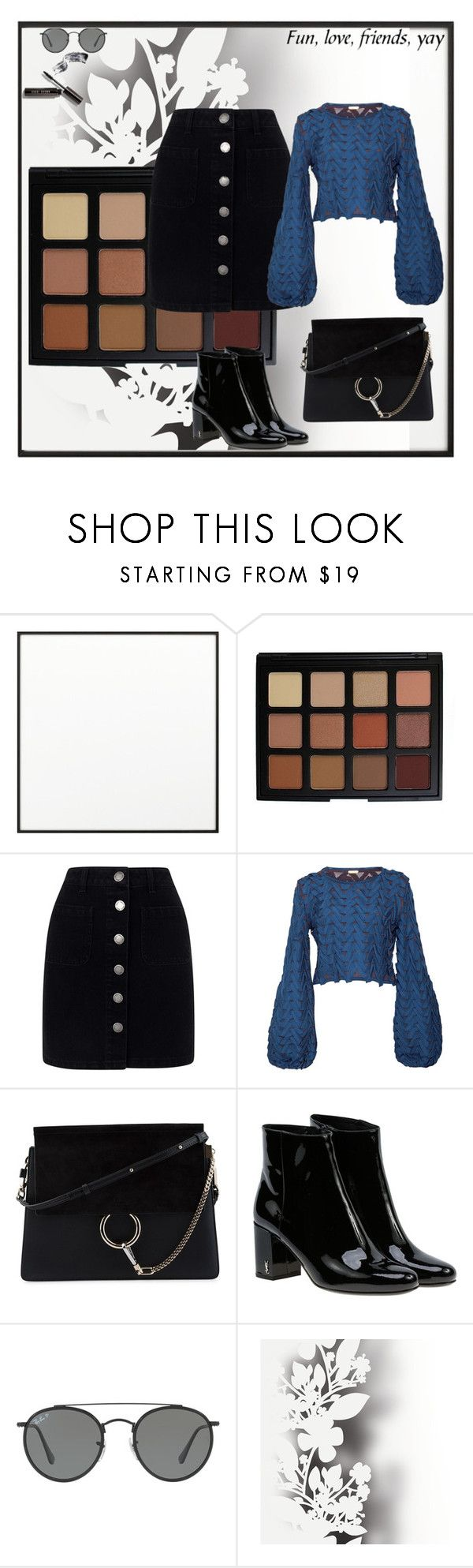 """Sem título #84"" by rebecioatto on Polyvore featuring moda, By Lassen, Morphe, Miss Selfridge, Pepa Pombo, Chloé, Yves Saint Laurent, Ray-Ban, Élitis e Bobbi Brown Cosmetics"