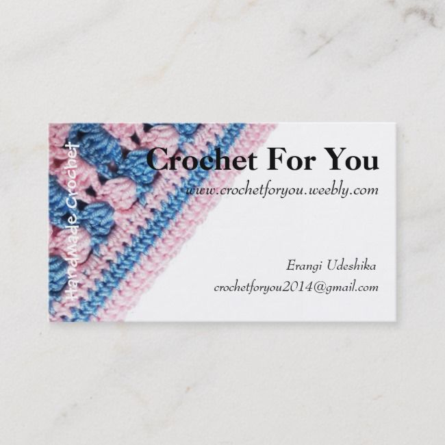 Crochet Business Card With Real Crochet Texture Zazzle Com In 2021 Crochet Business Colorful Business Card Business Cards