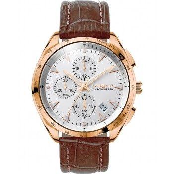 VOGUE Kingsman Chronograph Rose Gold Brown Leather Strap 55021.4