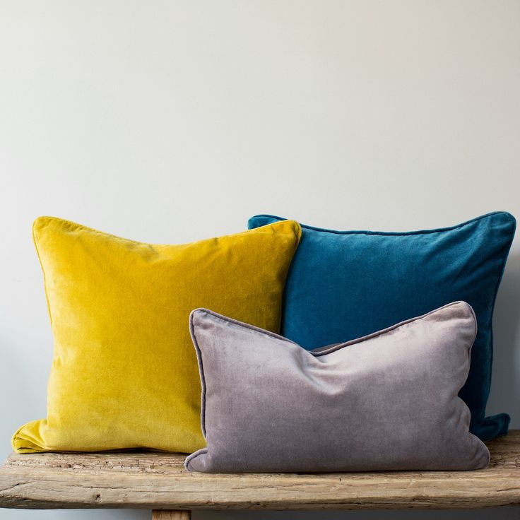 Velvet cushions 45 pounds add warmth and texture to a room, and these are washed to give a gently antiqued look and feel. Hand made in cotton velvet, they are perfect for