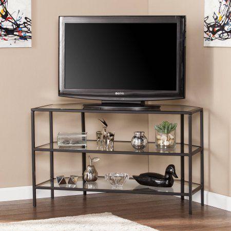 Southern Enterprises Matte Black Kane Metal/Glass Corner-Optional TV Stand for TVs up to 37 inch