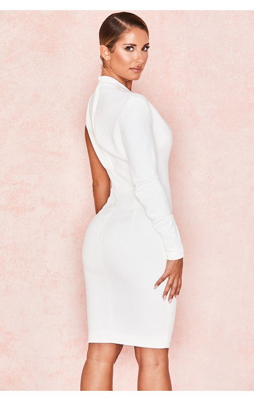 Clothing : Bodycon Dresses : 'Corinne' Whi…