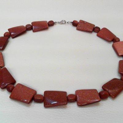 Colier, piatra soarelui maro | Matilda Creations Făcut din: piatra soarelui maro ( nugget 12x10x10 mm, dreptunghi ondulat 18x25 mm)