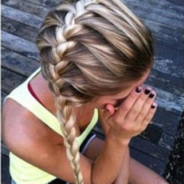 Sideways french braid:)