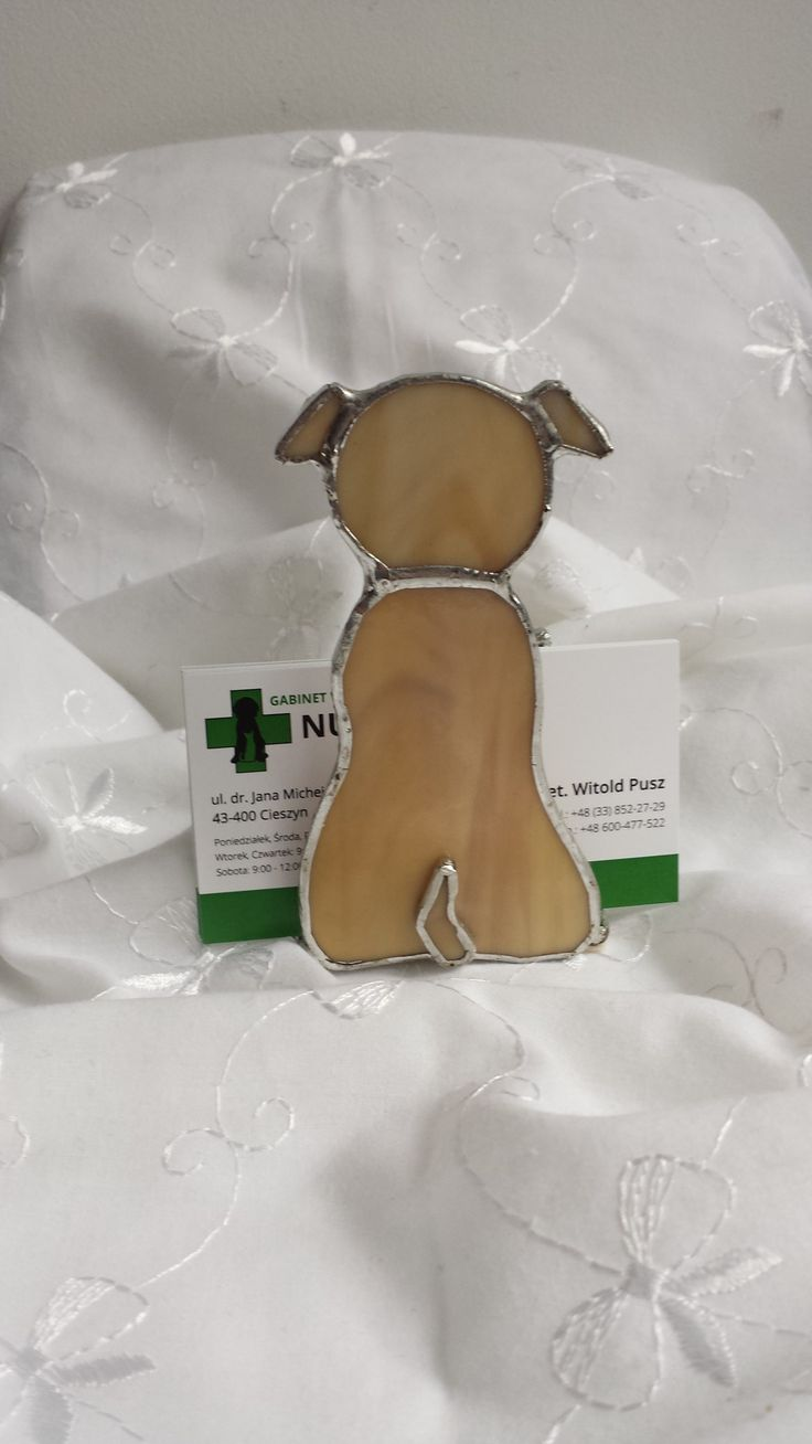 Piesek - stojaczek na karteczki lub wizytówki, technika Tiffany