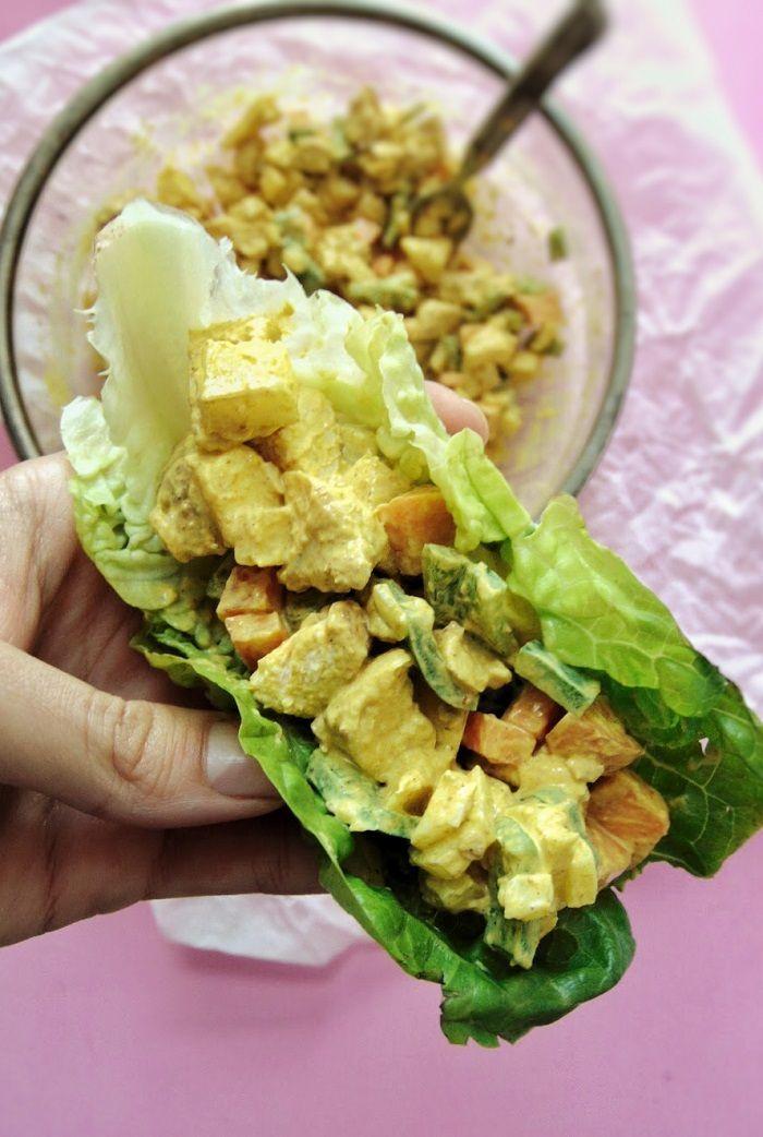 Ensalada de pollo con salsa de curry | ensalada de pollo al curry con manzana