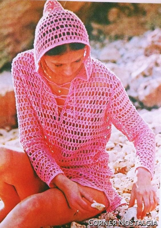 Crochet Pdf Pattern- Mesh Hoodie Beach -Cover Up -Tunic Sweater -Pullover Retro of 1970  SIZES: Misses' 12 (14-16-18-20). Garment width…