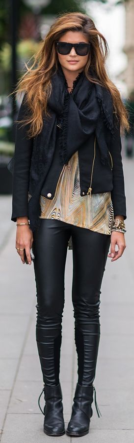 Black, leather, and bold scarf! Can't wait for my leather pants and jacket to arrive!
