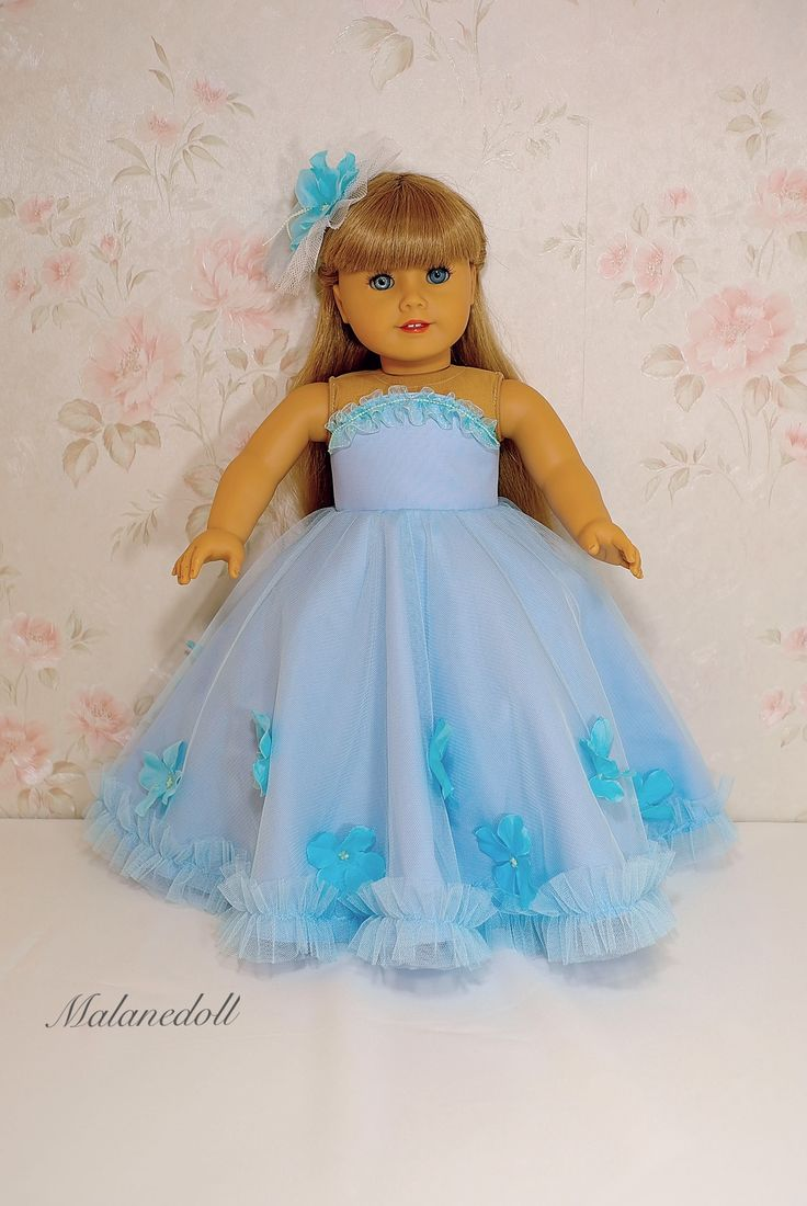 """Blue flowers princess dress for American girl doll 18"""" by malanedoll"""