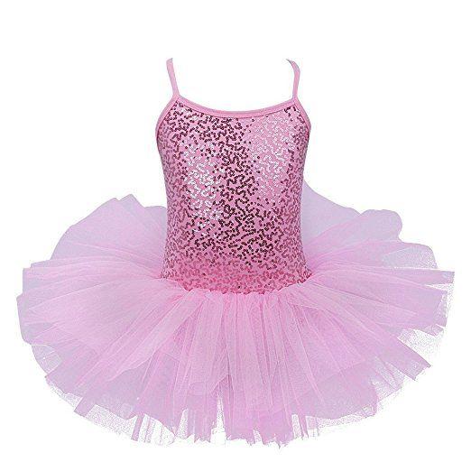 YiZYiF Mädchen Ballettkleid Ballett Trikot Tanzkleid Ballettanzug Tüll Festzug Mädchenkleid 98 104 116 128 140 152 (104-110, Rosa mit Pailletten)