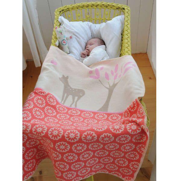 David Fussenegger Baby Blanket - Deer, Red