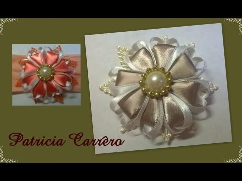 ЦВЕТОК ИЗ ЛЕНТ на резинке. МК / flower Ribbon D.Y.I. - YouTube