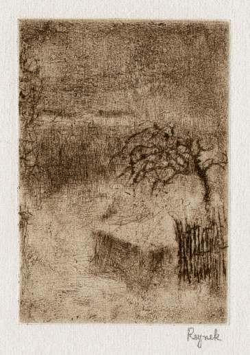 Bohuslav Reynek Strom u plotu / Tree at the Fence suchá jehla / dry point 13,5 x 9 cm, 60. léta