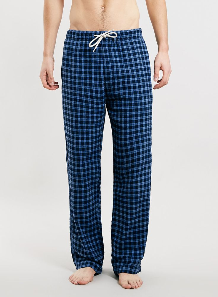 Pantalon de pyjama en flanelle à mini carreaux rouges et bleu marine - Pyjamas et Tenues d'Intérieur Homme - Vêtements - TOPMAN FRANCE
