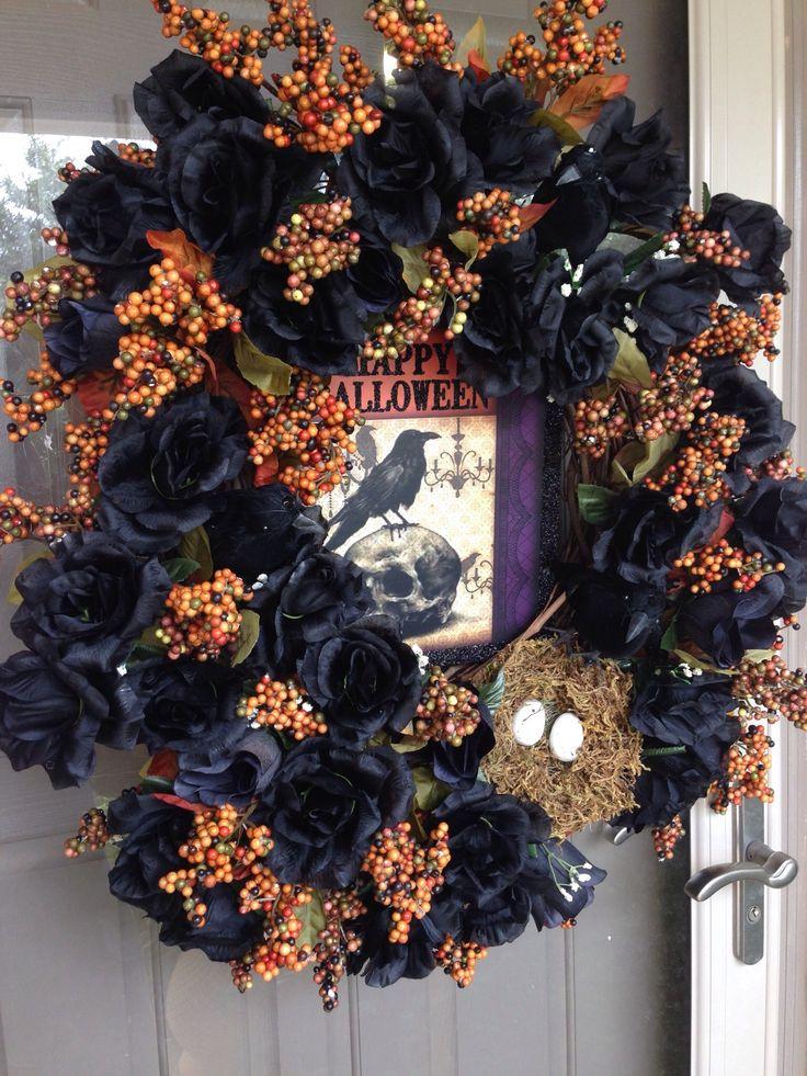 Halloween Wreath Grapevine Wreath Raven Nest Black