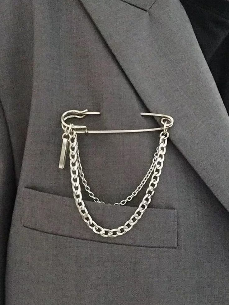 1pc Chain Decor Safety Pin Brooch Check out this 1pc Chain