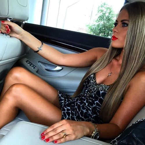 Image via We Heart It #brunette #car #dress #fashion #girl #hair