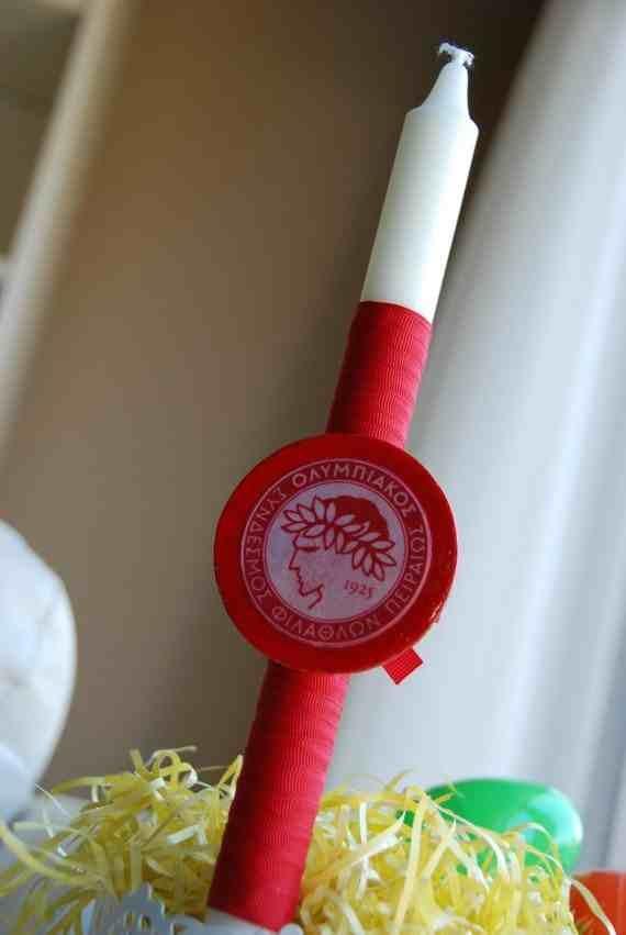 Olympiakos Easter Candle - $12.00 at Greek Wedding Shop ~ http://www.greekweddingshop.com