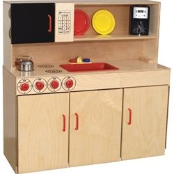 Wood Designs 5-N-1 Play Kitchen Set - Each play kitchen set is a combination of a three-burner play stove top, play sink, play microwave, play hutch and additional storage space and is constructed of 100 percent Healthy Kids Plywood with an exclusive Tuff-Gloss UV finish. These wooden kitchen playsets feature Pinch-Me-Not hinges and doors for added safety and working nobs and faucets for a life-like educational experience. [WD10800]