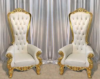 READY TO SHIP! Two Throne Chair Package w/ Gold Trim