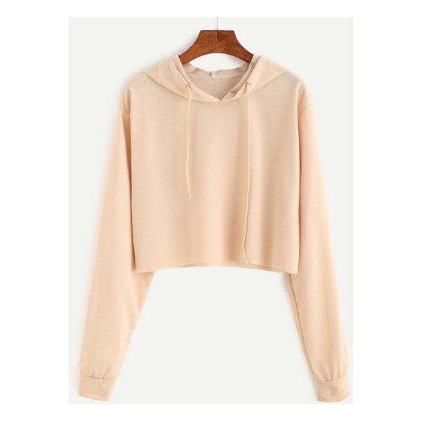 Apricot Drawstring Hooded Crop Sweatshirt (£11) ❤ liked on Polyvore featuring tops, hoodies, sweatshirts, beige crop top, crop top, beige top, cut-out crop tops and cropped sweatshirt