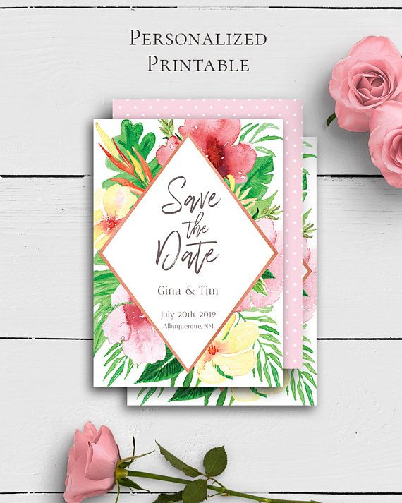 Tropical Wedding Save the Dates with colorful and lovely watercolor flowers in trendy and chic wedding style by Amistyle Digital Art on Etsy