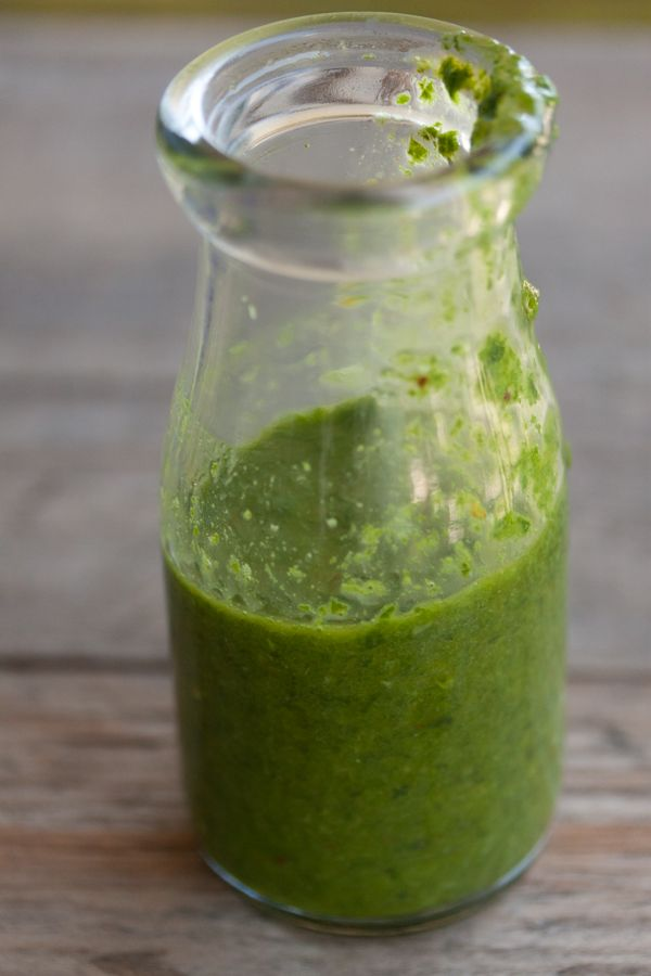 Basil Vinaigrette Ingredients 1 shallot, roughly chopped 1 cup tightly packed basil leaves 1 clove garlic 1/2 tsp red pepper flakes 1/2 cup olive oil 2 tbsp basil vinegar 1 tsp salt Instructions Combine all the ingredients in a food processor or blender and mix until smooth. Use on salads, grilled meats, pasta, rice etc