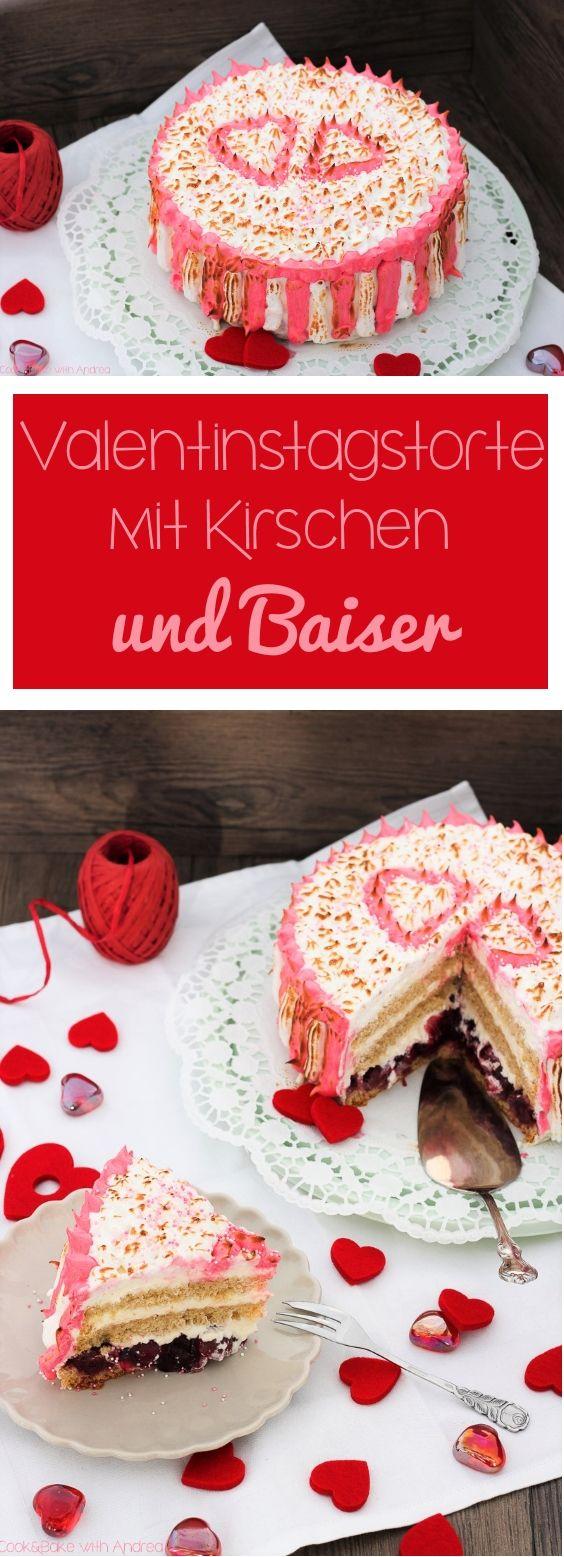 Valentinstagstorte Mit Kirschen Und Baiser. Valentinstag ...
