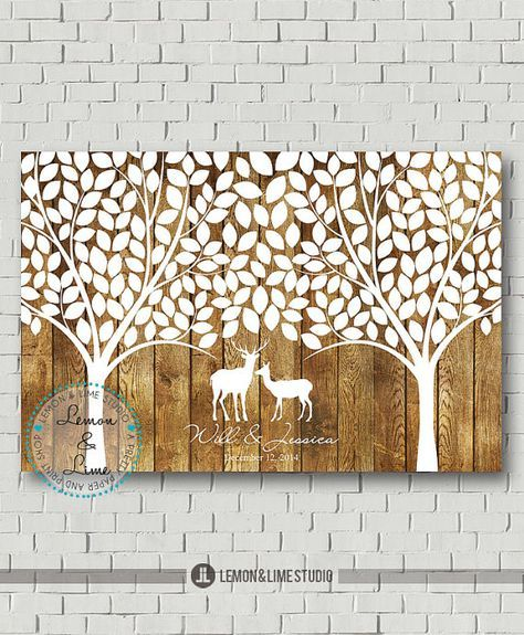 Wedding Guest Book Wedding Signs Personalized Guest Book, Deer Guestbook Wedding Gift Rustic Wedding Tree Guestbook Tree Wedding Canvas Sign  More material added! Now you can get this design printed on Poster OR Canvas OR Wood. Please select your size and material from a dropdown menu under Dimensions tab. For wood option the design will be printed on a single wood cut to size selected by buyer. The wood print does not print on multiple wood planks. This wedding tree guest book alternative…