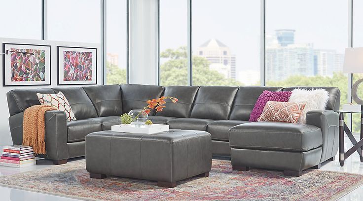 Complete suites of leather furniture for sale. Find a leather living room set online. Red, brown, white, black leather living room sets & more. #iSofa #roomstogo