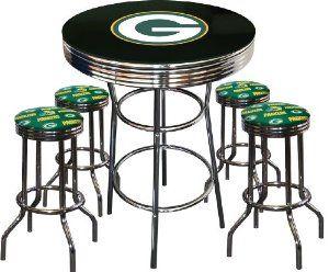 Amazon.com: 5 Piece Green Bay Packers Logo Chrome Finish Black Pub Table w/ 4 Bar Stools: Home & Kitchen- Jason would love this. Lol.