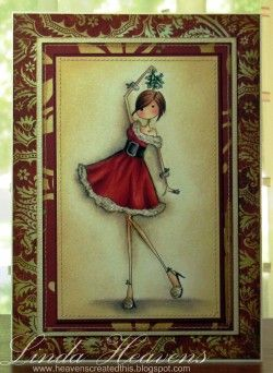 "Uptown Girl: ""Eve under the MIstletoe"" Linda Heavens card"