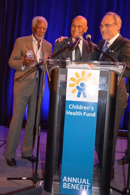 http://blacktiemagazine.com/society_june_2016/Childrens_Health_Fund_Annual_Benefit.htm Morgan Freeman, Humanitarian Award Honoree Harry Belafonte and Irwin Redlener, MD, President and Co-Founder.  Photo by:  Rose Billings/Blacktiemagaizne.ocm