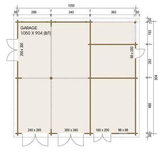 XL-Holzgarage - Grundriss - 1050 x 904 cm (BxT) - Umbauter Raum: 108 m³ - Die Garage hat eine Seitenwandhöhe von 204 bzw. 298 cm und eine Firsthöhe von ca. 482 cm.