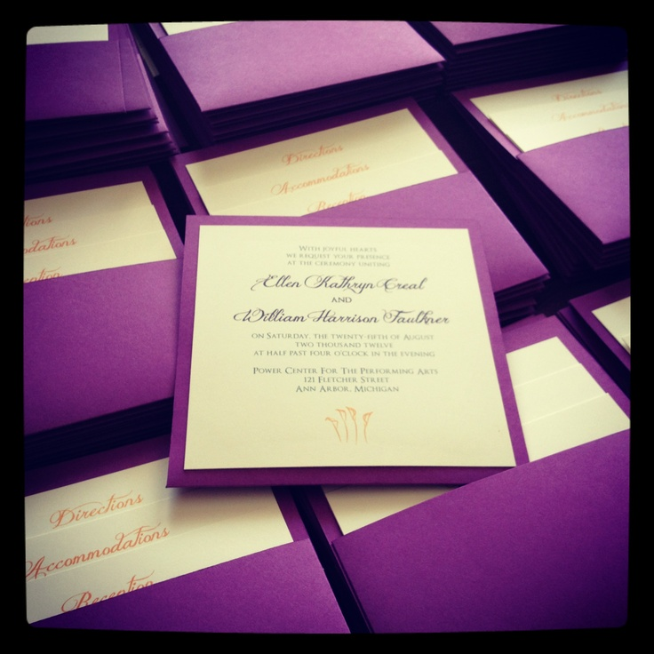 Purple invitations with pockets
