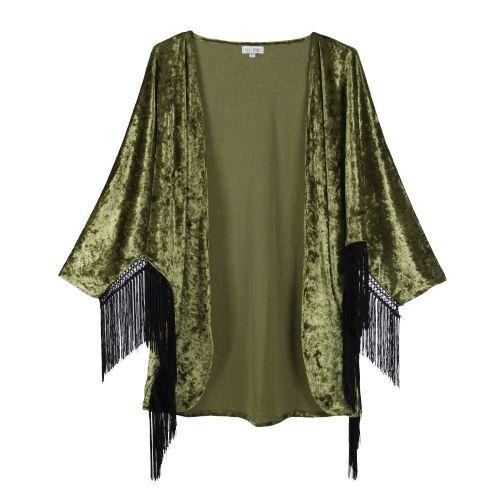 Iberis: green velvet kimono with fringes. Boho trend