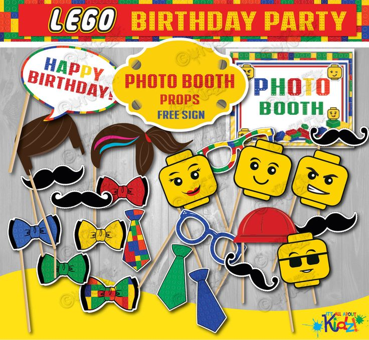 INSTANT DOWNLOAD. Lego Birthday Party Photo Booth Props with free sign. Lego Party Photo Booth printables, Lego party decorations by ItsAllAboutKidz on Etsy