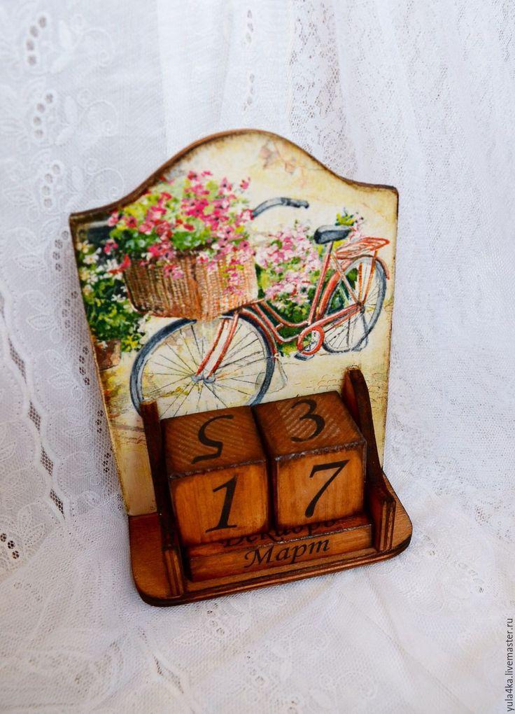 Купить Вечный календарь - коричневый, вечный календарь декупаж, вечный календарь, офисный календарь, для дома
