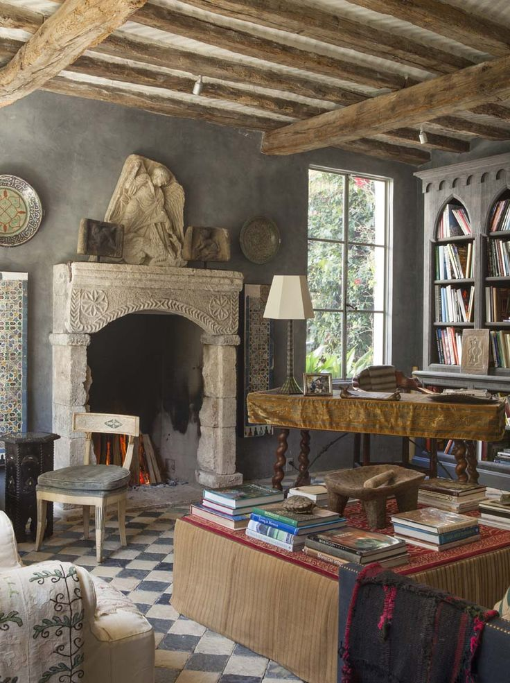 Study Is A Refuge With Prized Archival North African Photography An Spanish Desk And Sandstone Slate Floor The Fireplace From Cyprus