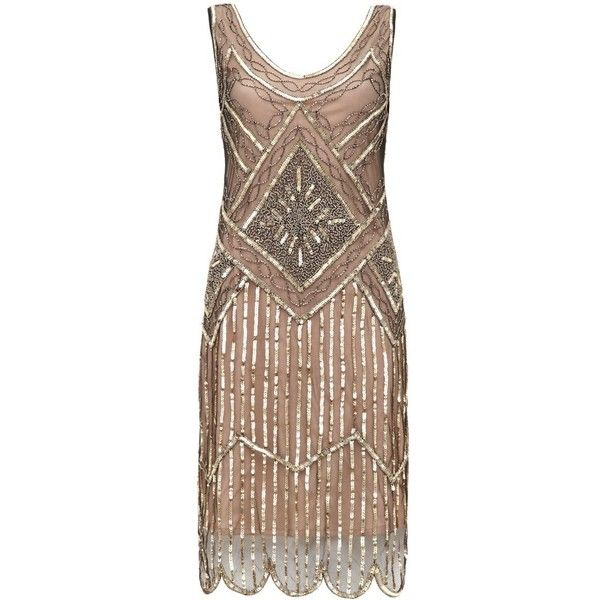 Edith Vintage Inspired Flapper Dress in Nude Black ❤ liked on Polyvore featuring dresses, vintage looking dresses, nude dress, sparkly dresses, flapper style dresses and vintage style flapper dresses