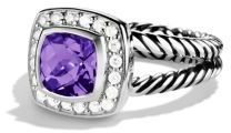 David Yurman Petite Albion Ring with Amethyst and Diamonds