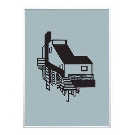 A House - Grafisk billede af arkitekttegnet hus i blå af Kristina Dam