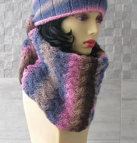 Pastel  Knit Scarf  Knit Cowl  Infinity Scarf by DamovFashion