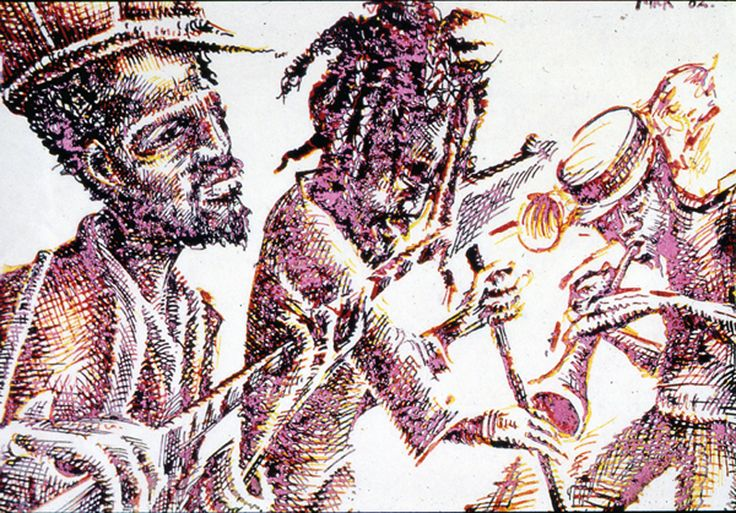 Reggae Musicians  Pen & Ink 1982 by Mike Hawthorne