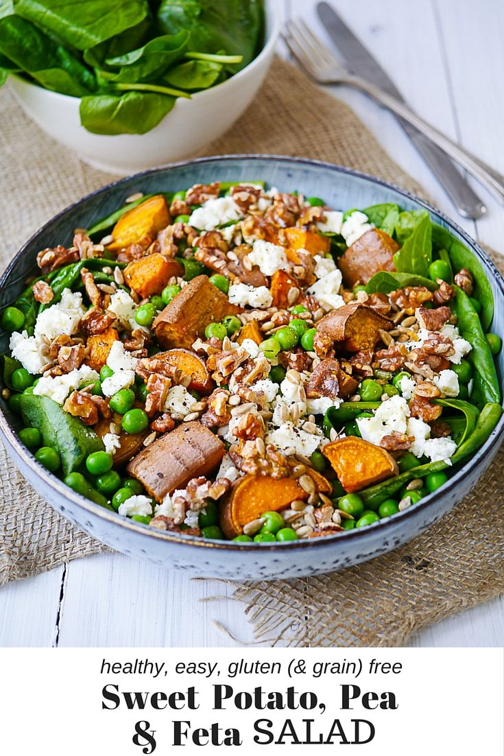 Sweet Potato, Pea and Feta Salad on nourisheveryday.com - A filling, healthy gluten free & grain free sweet potato salad high in vegetarian protein. Easy and delicious!