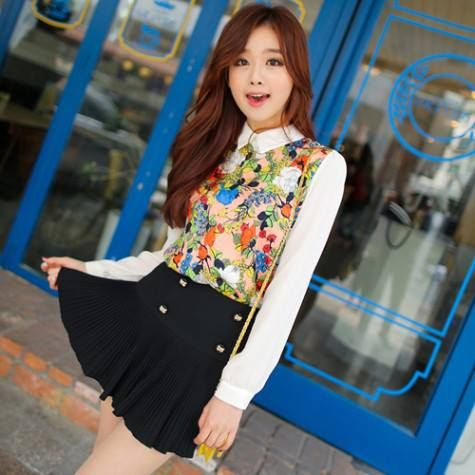HQ 3304 White Flower Blouse. Fabric chiffon (not elastic) Bust 90 Shoulder 39 Sleeve 62 Length 65