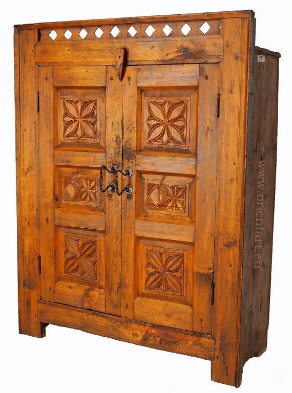 Spectacular antik Massive Naturholz schrank Kommode Kleiderschrank bauernschrank cabinet