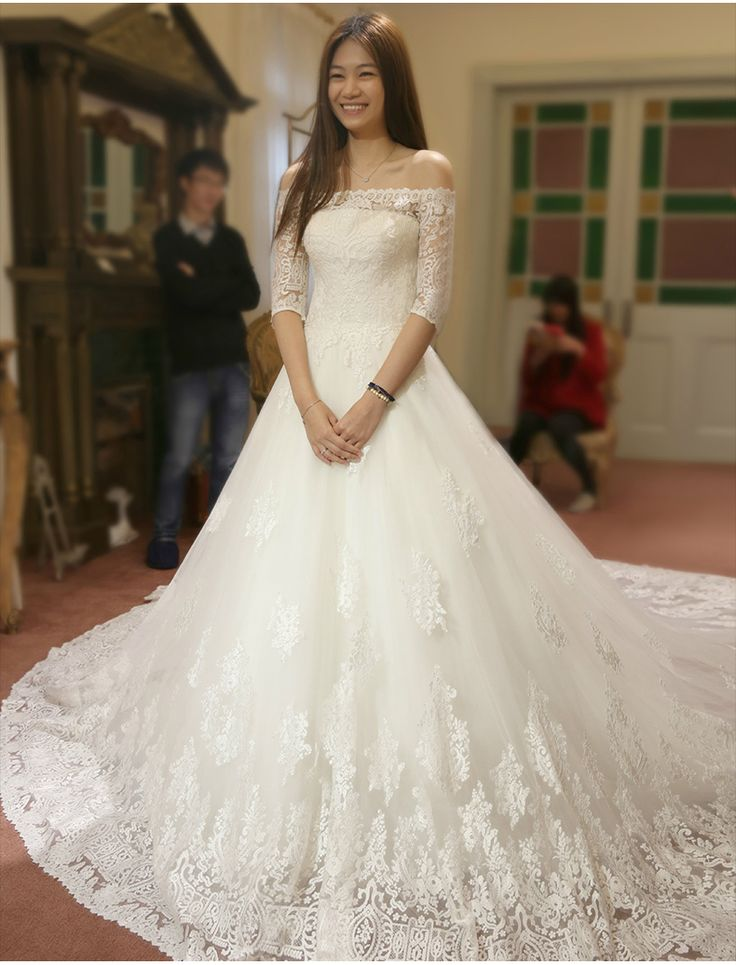 >> Click to Buy << A-line Wedding Dress Short Sleeve Boat Neck Appliques Luxury Cathedral/ Royal Train Vestido De Noiva NM 750 #Affiliate