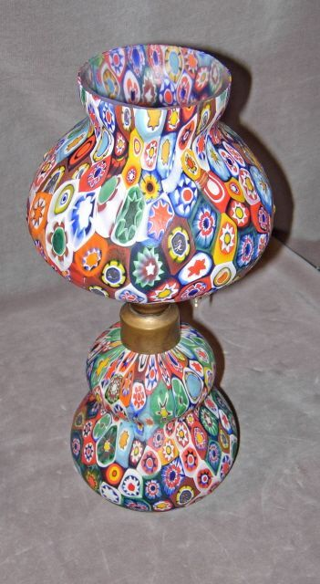 Vintage Murano Millefiori Glass Oil Lamp