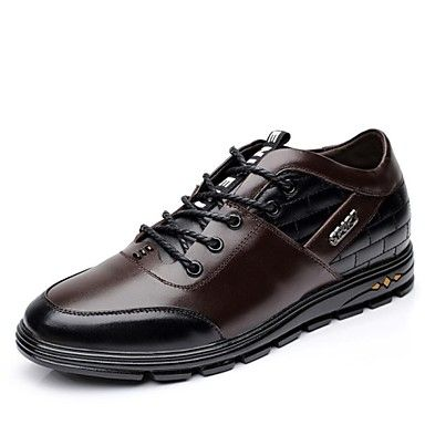 Men's Shoes Leather Spring Fall Comfort Oxfords Lace-up for Casual Office & Career  Black Brown